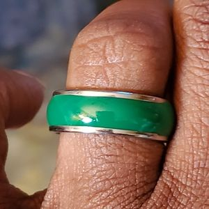 Emerald Green Enamel Band Ring